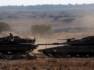 Israeli Merkava tanks take part in recent large-scale war games in the Golan Heights. Photograph: Atef Safadi/EPA